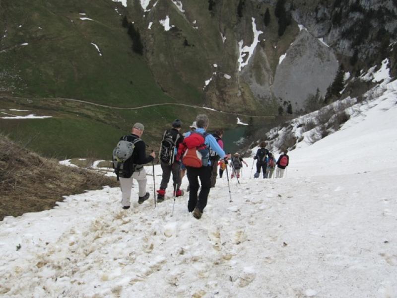 Descente depuis la Tête d\'Avalanche vers Chalets d\'Arvouin