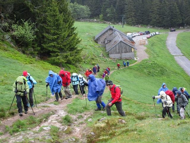 Départ de la randonnée dans les Hautes Vosges