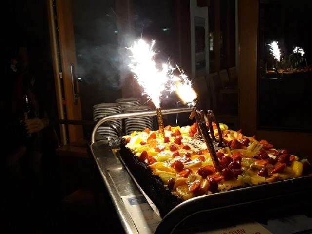 La soirée se termine par le gâteau d'anniversaire du CV Wasselonne